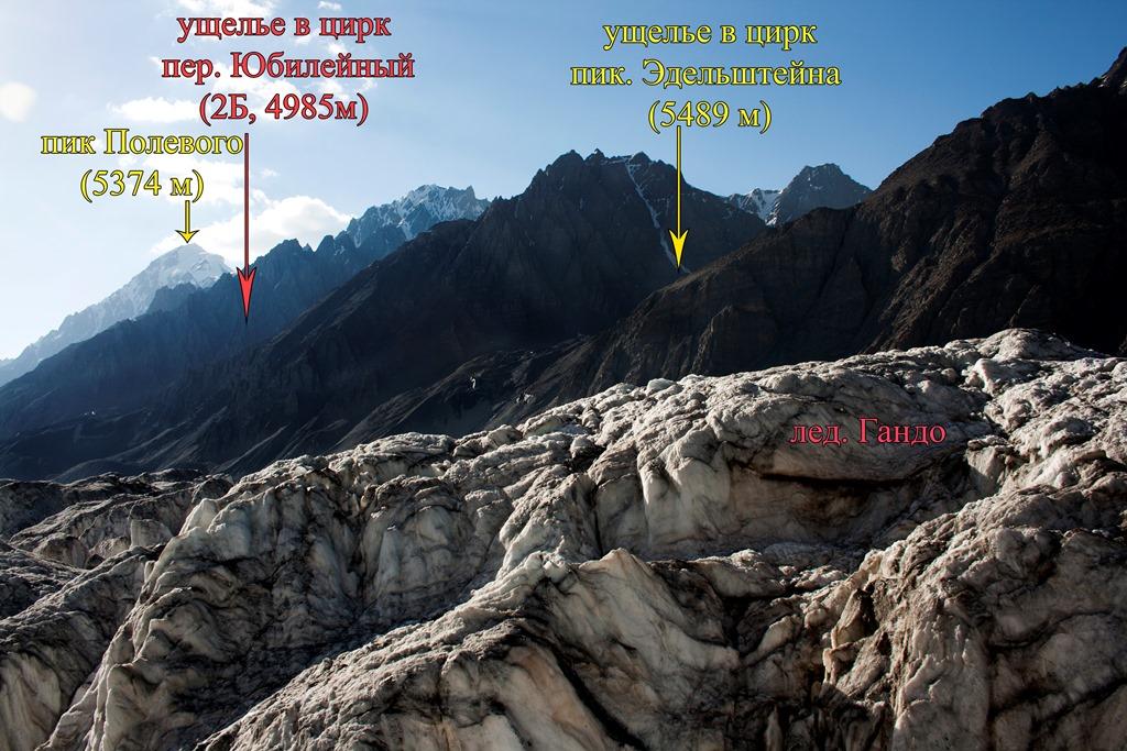 вид с лед. Гандо на кулуар ведущий к пер. Юбилейный (2Б, 4985 м)
