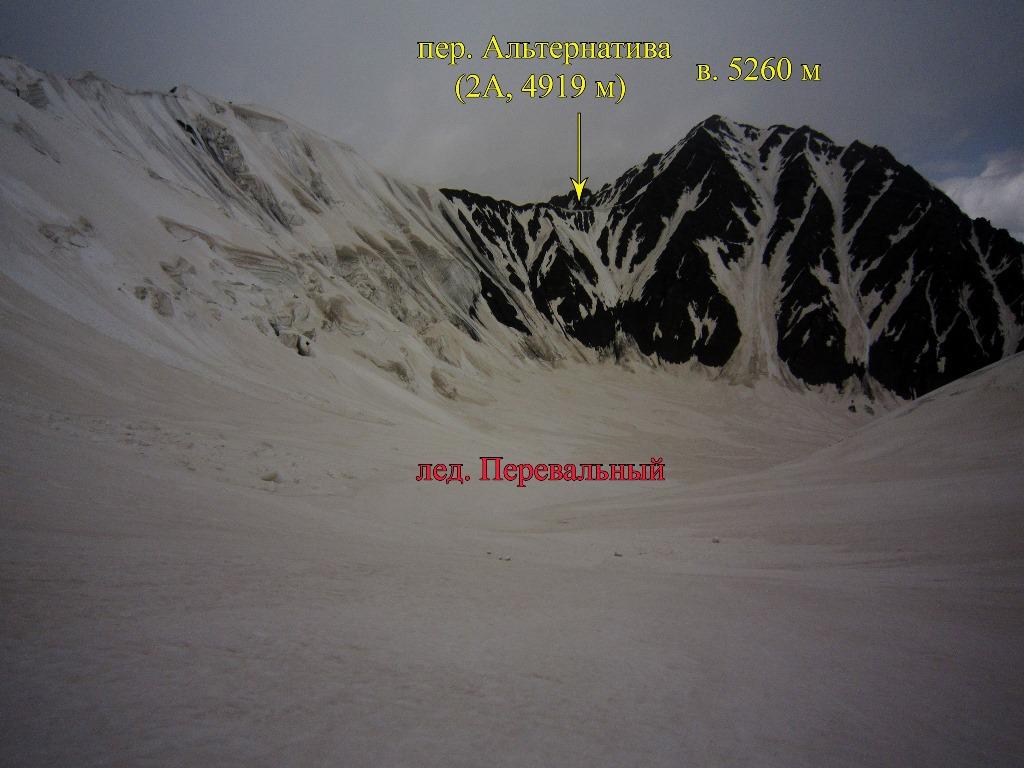 Вид на среднее течение лед. Перевальный от пер. Юбилейный (2Б, 4985 м)