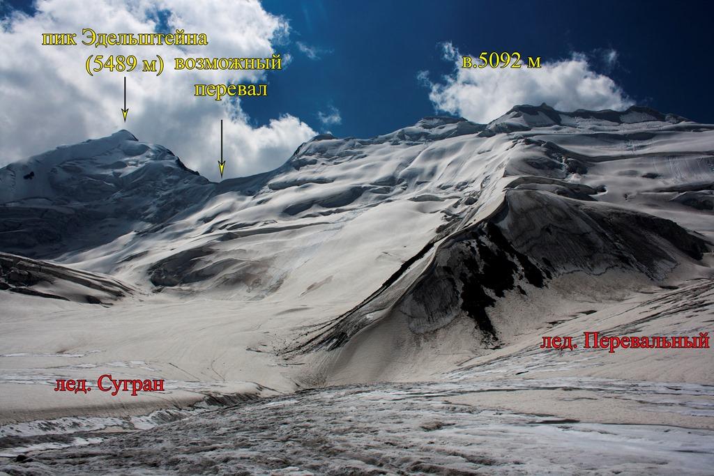Вид на пик Эдельштейна от места слияния лед. Сугран и лед. Перевальный