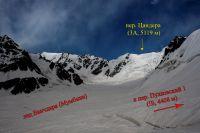Вид на верховья лед. Ванчадара и пер. Цандера (3А, 5119 м) от пер. Пулковский 1 (1Б, 4408 м)