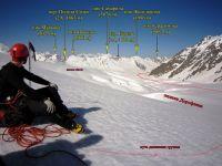 Начало спуска с с пер. Беседина (3А, 5200 м) на лед. Дорофеева