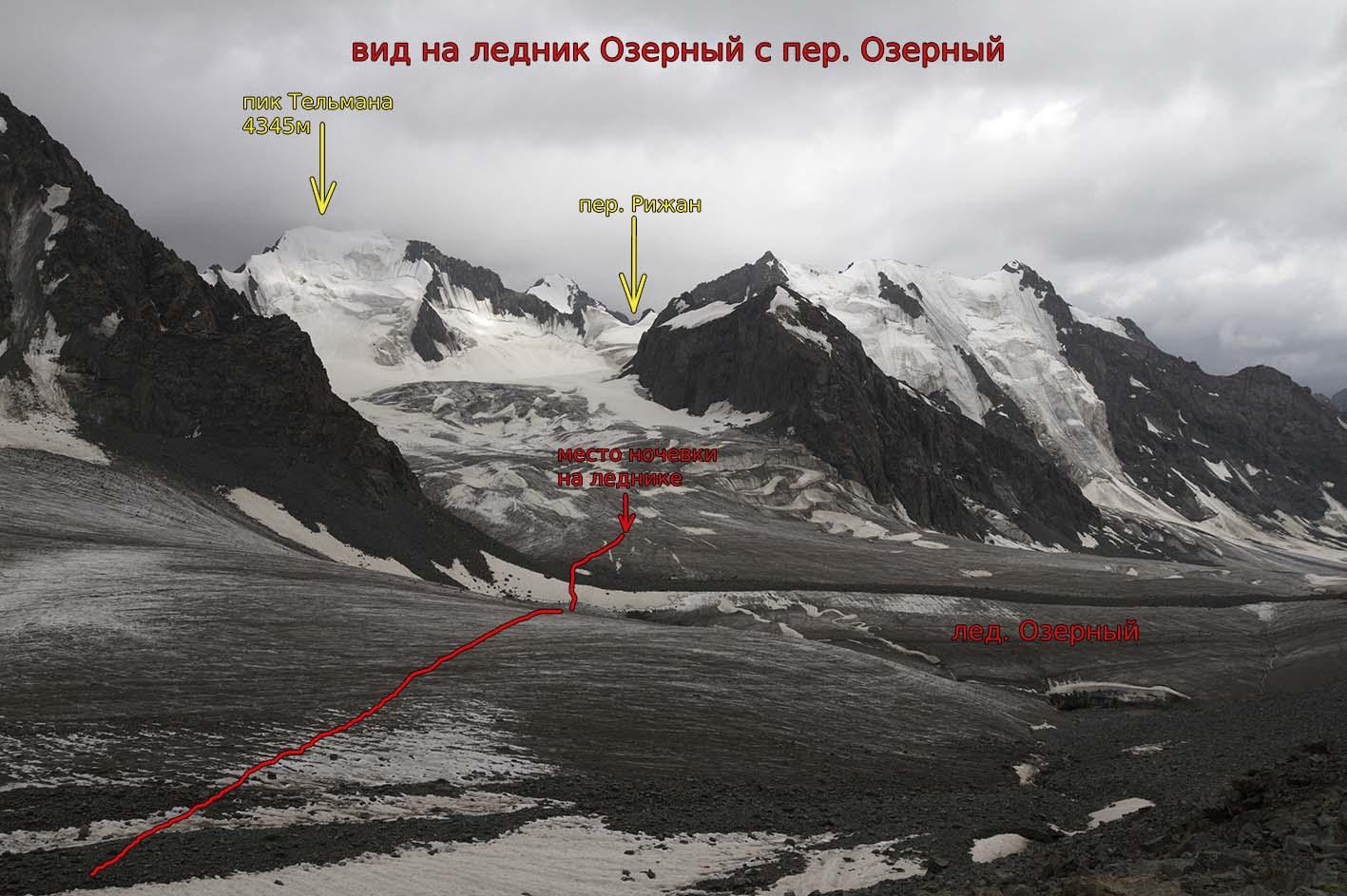 Пик Тельмана (4345 м) и пер. Рижан с пер. Озерный