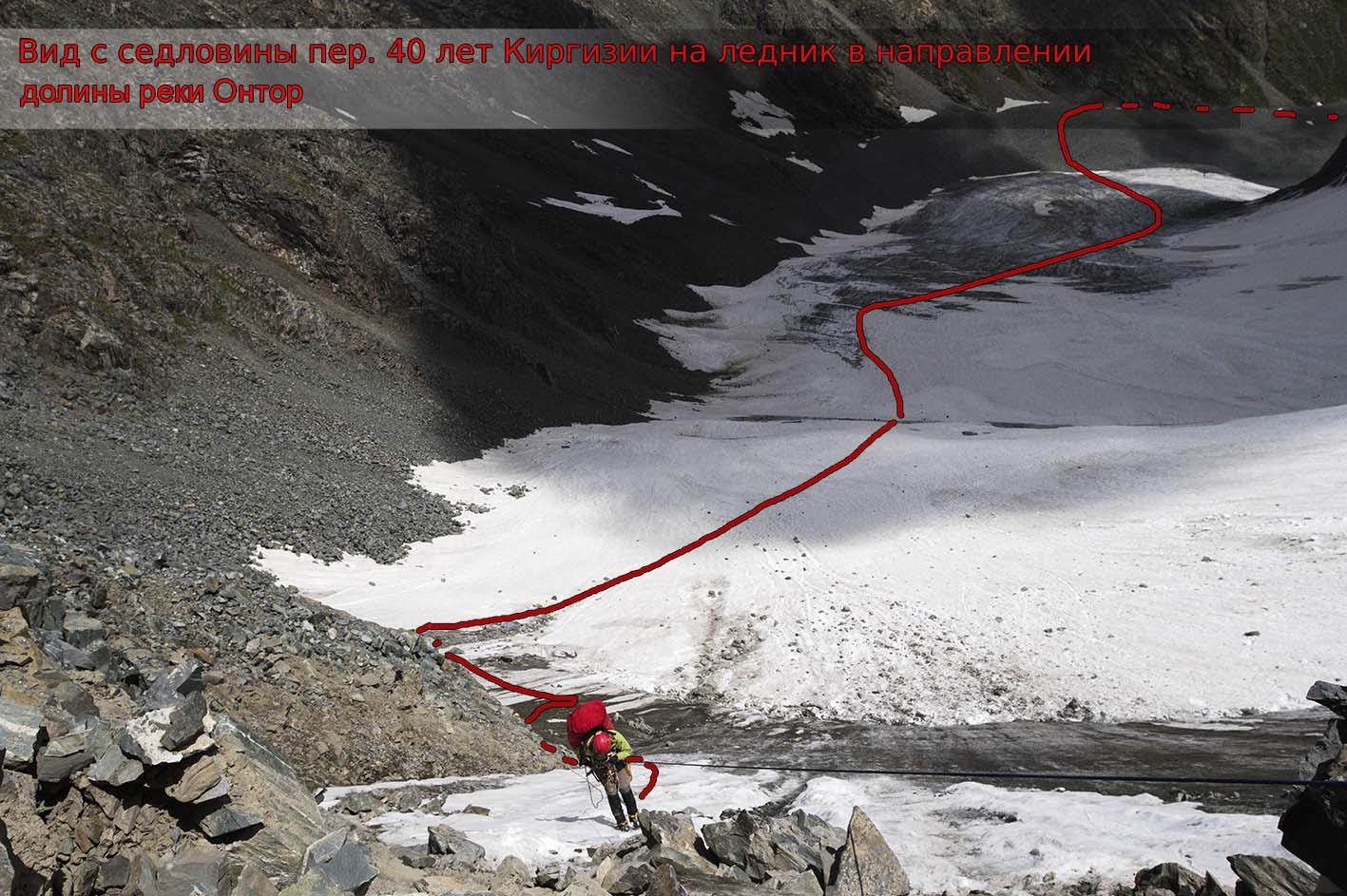 Спуск с Пер. 40 лет Киргизии (2А, 4000 м) в сторону долины р. Онтор