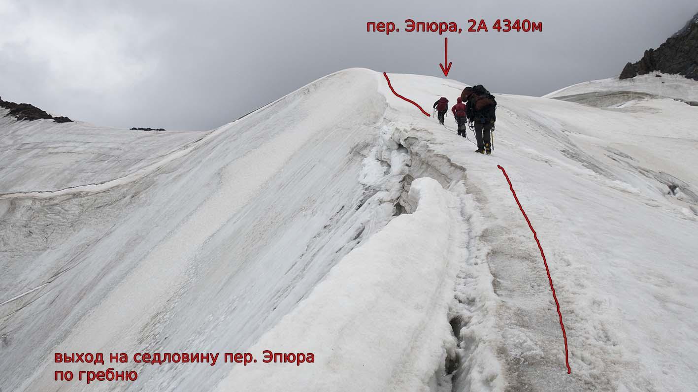 Гребень при подъеме на пер. Эпюра (2А, 4340 м)
