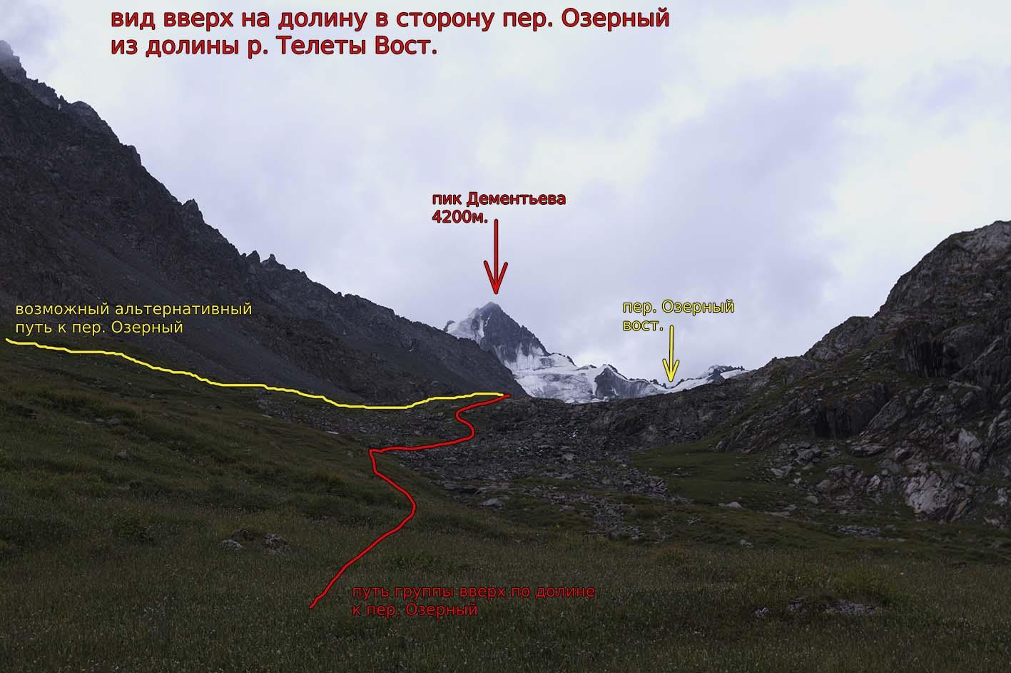 Вид вверх на долину в сторону пер. Озерный (1Б, 3700) и пик Дементьева (4200 м) из долины р. Телеты вост.