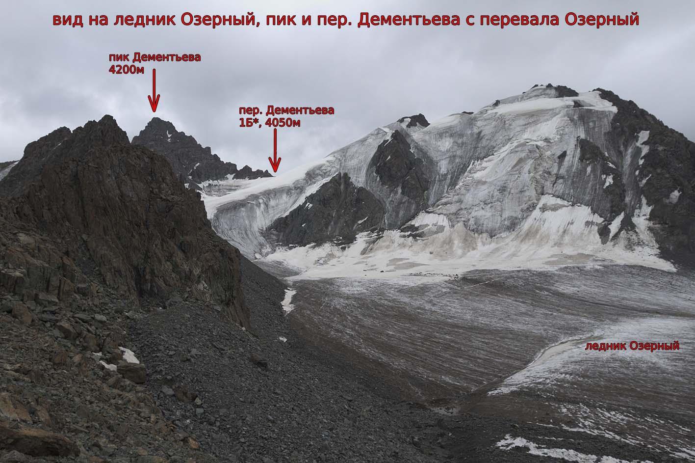 Пик Дементьева (4200 м), пер. Дементьева (1Б*, 4050) с ледника Озерный