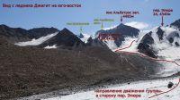 Вид на пер. Эпюра (2А, 4340 м), пик Альбатрос (4485 м) и пик Джигит (5072 м) с ледника Джигит